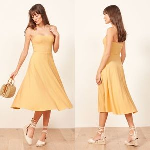 Reformation Bettie Lemon Rib Knit Midi Dress